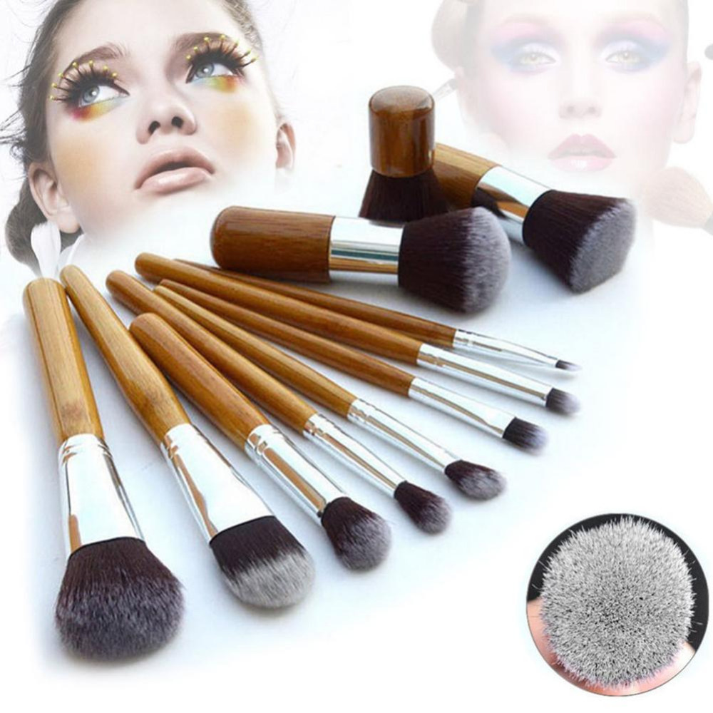 11pcs Make Up Brushes Bamboo Handle Foundation Blending Makeup Brushes Set Flat Angled Cosmetics Brush New Arrival	Dress Women top quality foundation brush angled makeup brush