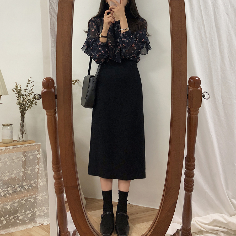 HTB1hZv6XzzuK1RjSsppq6xz0XXaT - Solid Black Brown Mid Calf Women Skirt Vintage Spring Summer Straight Skirt Long Office Lady High Waist Girls skirts Femininas