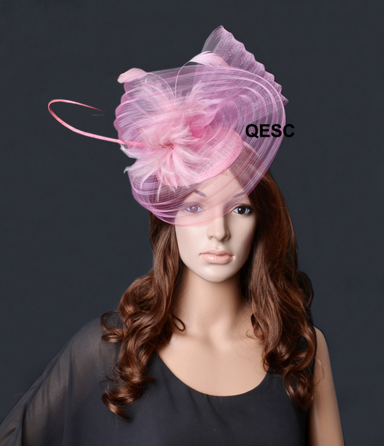 3c0f3dca624b9 Light Pink big crin Fascinator with feathers flower and ostrich spine for  Kentucky derby