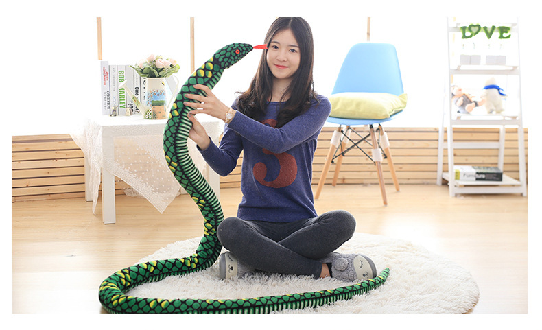 long plush green snake toy stuffed big pattern python toy boa gift toy about 280cm