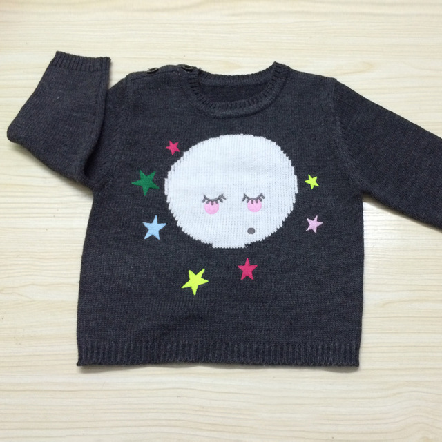 Hot 2016 spring baby girl Embroidery Pattern cashmere sweater kids boys the moon smile pattern sweaters high quality 1-5Y outfit