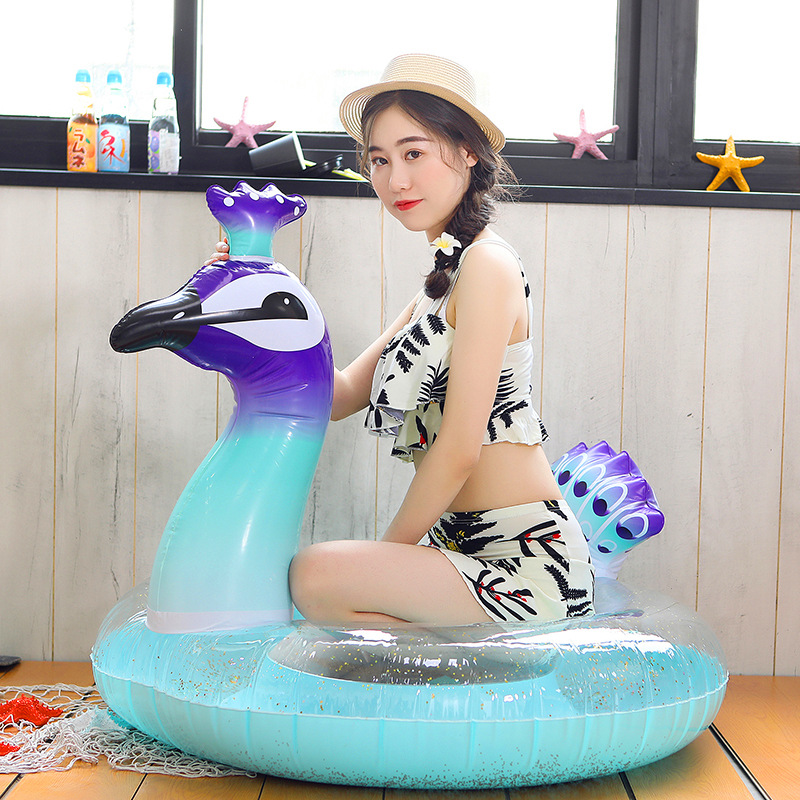 Swimming Liberal 120cm/175cm Giant Peacock With Glitter Swimming Ring Summer Pool Party Float For Adult Children Air Mattress Water Toys Boia