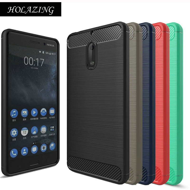 wholesale dealer 85342 aec90 HOLAZING Glossy Rugged Full Body Armor Case for Nokia 6 Nokia6 Anti Shock  Absorption Luxury Carbon Fiber Design Cover-in Fitted Cases from Cellphones  ...