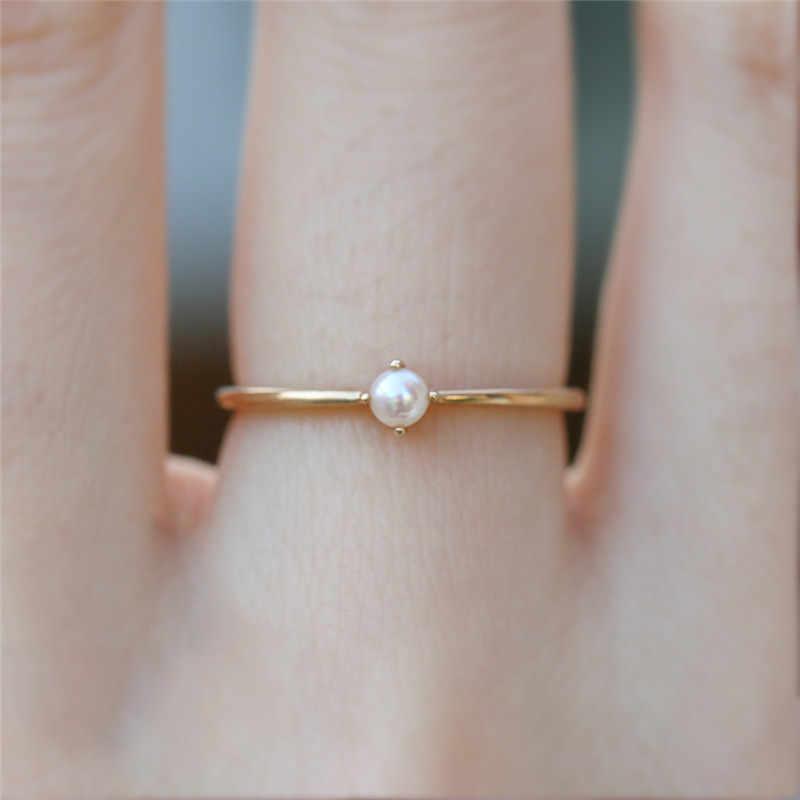 Vàng Ngón Tay Nhẫn nữ Nữ Tối Giản Trang Sức Giả Ngọc Nhẫn Cưới Knuckle Nhẫn Bé Gái Quà Tặng ringen dames