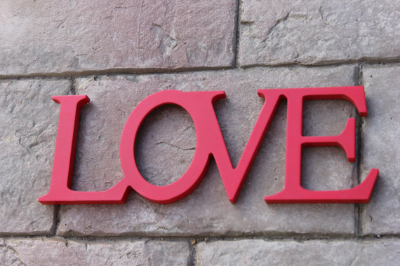 RED LOVE SIGN Love Letters Vintage Weddings Wood Candy Buffet Valentines Day Valentine Photo Prop Frame Custom Painted
