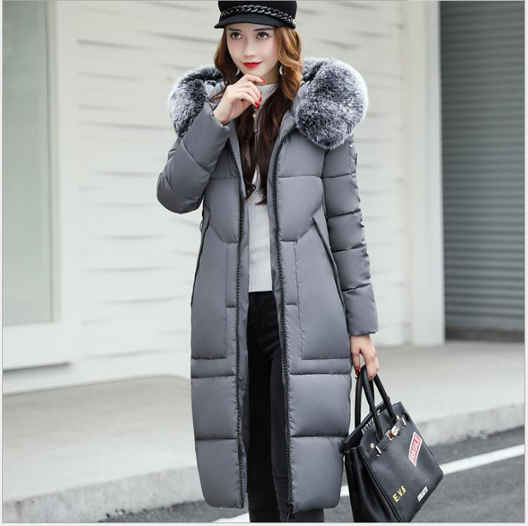 2017 winter new cotton clothes female Korean version of the long section of temperament fashion big hair collar body down jacket polo golf clothes costume lady golf zipper collar shirt cotton autumn jacket long sleeved tshirt fashion korean female clothing