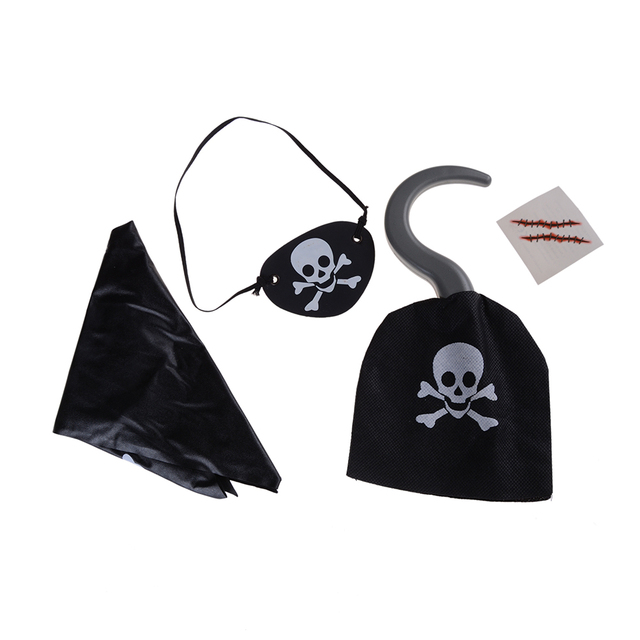 halloween pirate scarf props kerchief captain hat eye patch pirate