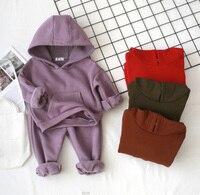 Winter Boys Set Fleece Warm Children's Hooded Sweatshirt + Pants Casual Sport 2 Piece Set Black Kids Girls Clothes BC491
