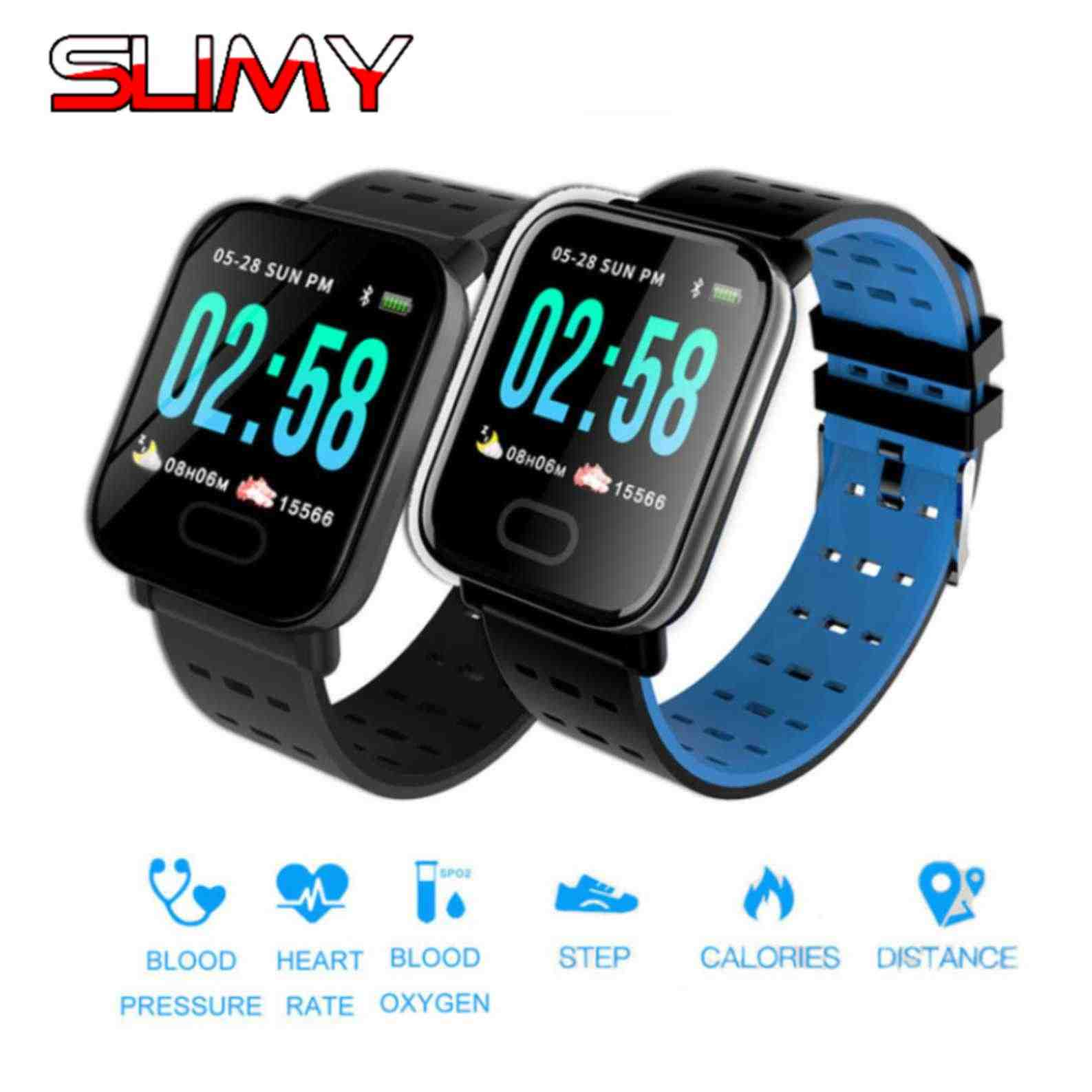 Slimy A6 Bluetooth Smart Watch with Heart Rate Blood Pressure Fitness Tracker Waterproof Smartwatch Color Screen for IOS Android