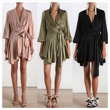 Women Deep V neckline empire robe dress Wrap dress with self tie belt Blouson sleeve with buttoned cuff gathered frill