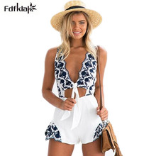 Sexy v neck floral embroidery jumpsuit romper women cut out
