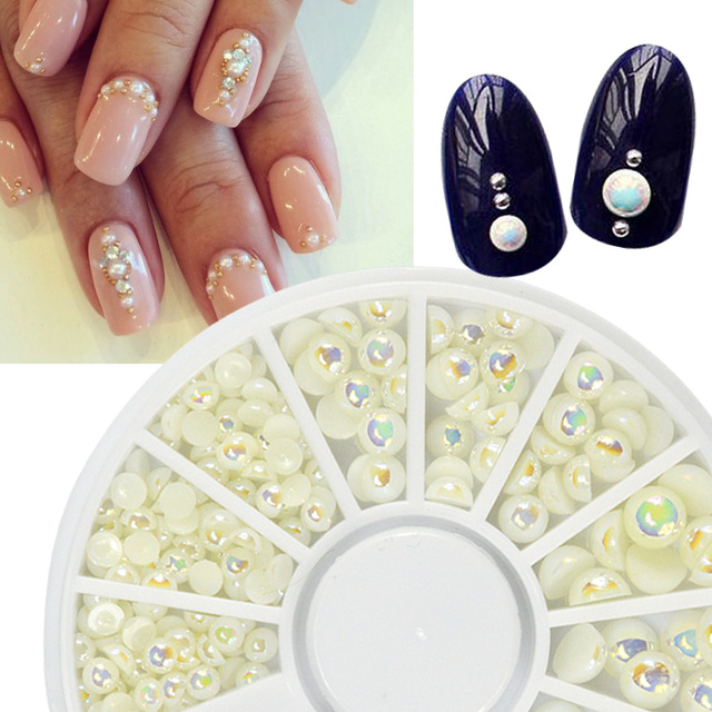 1 Wheel Pearl Nail Art Decoration Flat Bottom Studs Natural Ab Color Mixed 3mm4mm5mm6mm Manicure