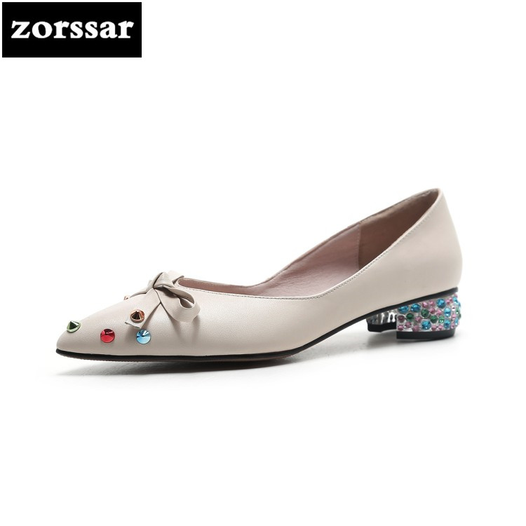 {Zorssar} 2018 New fashion Rhinestone womens High-heeled shoes Pointed toe Slip-on Shallow High heels ladies low heel shoes new 2017 spring summer women shoes pointed toe high quality brand fashion womens flats ladies plus size 41 sweet flock t179