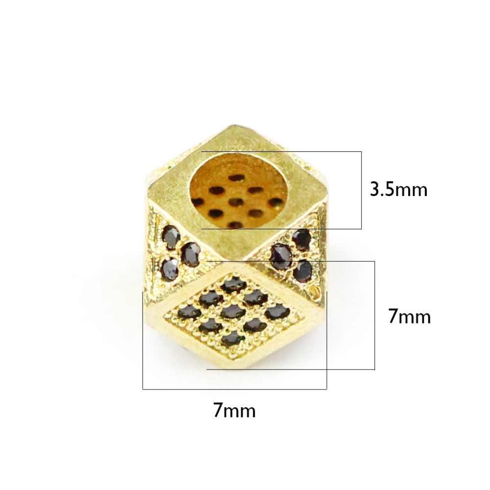 BTFBES 2 uds CZ cobre moneda espaciador cuentas 8mm plano redondo negro amuletos de zirconio metal cuentas sueltas para joyería pulsera hacer DIY