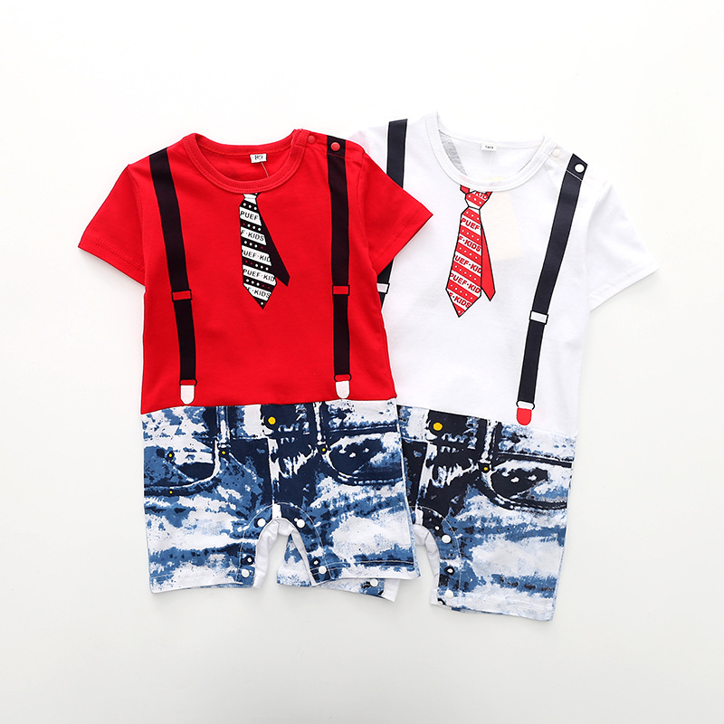 2018 New Baby Rompers Newborn Infant Denim Print Baby Boy Girl Summer Clothes Cute Cartoon Printed Romper Clothes 1-3-6-9-12M