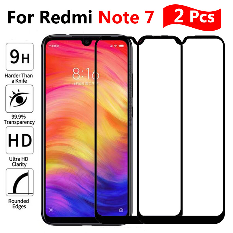 2 Pcs/ lot Full coverage Tempered Glass For screen protector Xiaomi xiomi Redmi note 7 For Xiaomi redmi note7 protective Film 9h-in Phone Screen Protectors from Cellphones & Telecommunications