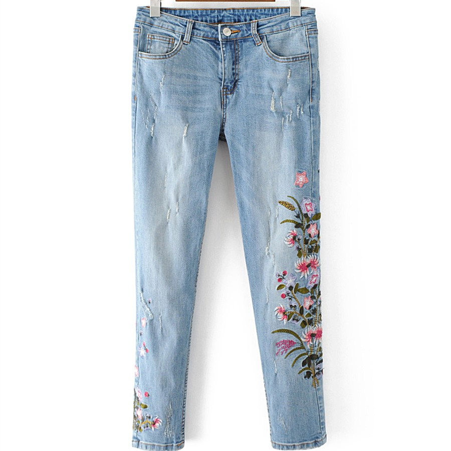 2017 Fashion BF Style Ripped Jeans Mid Waist Jeans Women Floral Embroidery Pencil Denim Pants Ladies Slim Ankle-length Trousers 2017 fashion women jeans retro style floral embroidery ripped hole denim pencil pants vintage mid waist ankle length trousers