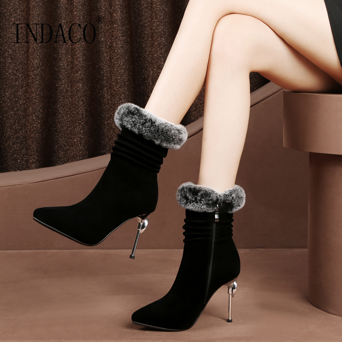 Fur Thigh High Boots Leather 2018 New Fashion High Heel Women Winter Boots Botas Mujer Invierno