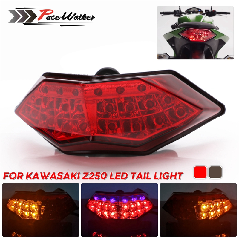 Tail Brake Light Smoked Tail Brake Light Turn Signals LED Light for Kawasaki Ninja 250 300 2013-2015