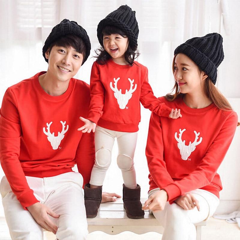 Vánoční rodinné oblečení odpovídající matka a dcera oblečení Otec syn oblečení bavlna kreslený módní rodičovské dítě mikiny