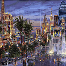 Beautiful City Night Fountains DIY Painting By Numbers Kits Coloring Painting On Canvas Handpainted Home Decor Wall Artwork