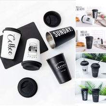 Reusable Ceramic Letter Travel Mugs Silicone Lid Bone China Cups Travel Mug Tea Coffee Portable Cups