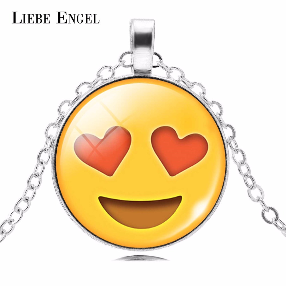 LIEBE ENGEL Emoji Picture Statement Chain Necklace Fashion Emoticons Silver Color Glass Cabochon Collars Women Fine Jewelry 2017