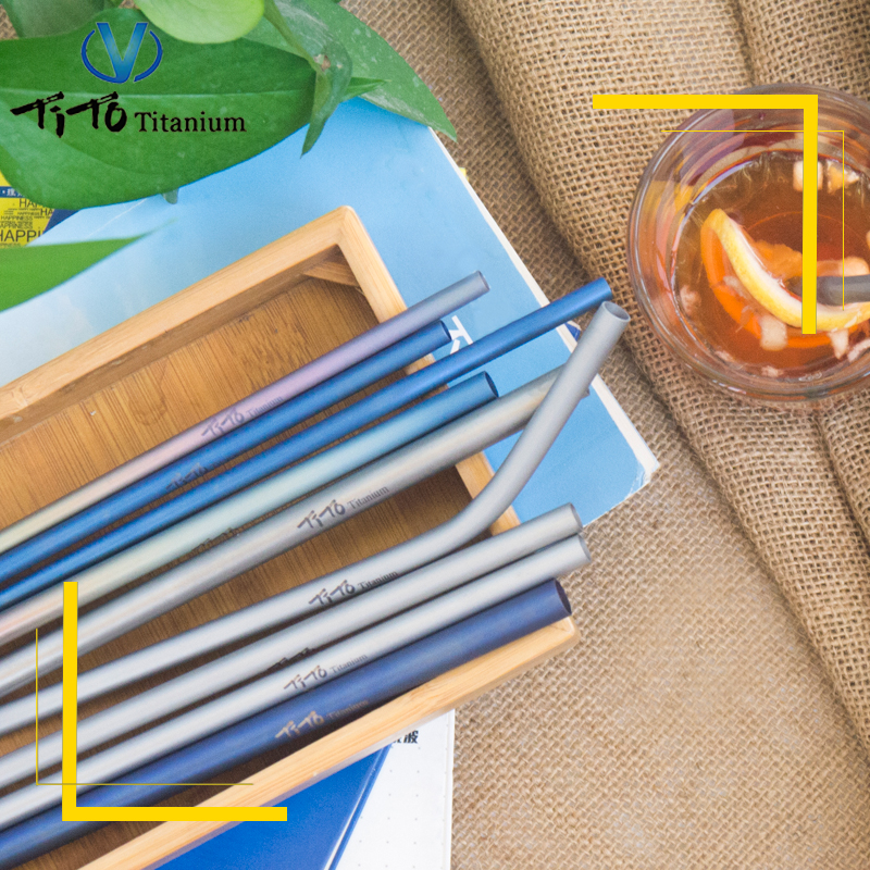 with 1 Cleaner Brush Outdoor Tablewares Camping & Hiking titanium Straws Titanium Bend Straw Kitchen Outdoor Camping Drinking Family And Holiday Gift Straws And To Have A Long Life.