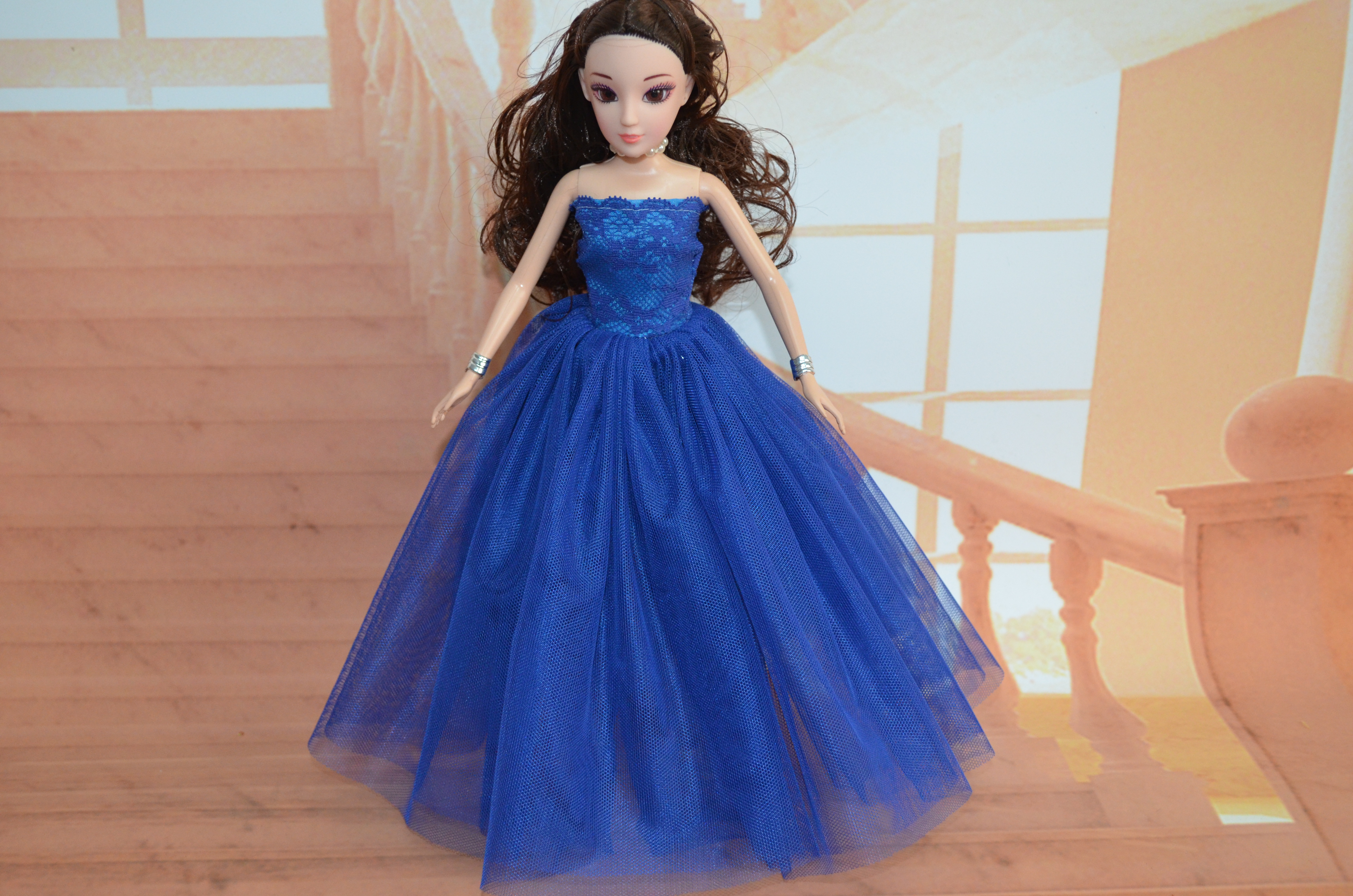 for barbie doll clothes high-end wedding skirt thousand Jinlong good quality full skirt natural hat with flower in hand