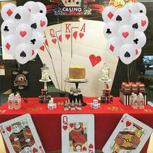12inch 30cm Poker Logo Latex Balloons Casino Party Las Vegas Themed Party Card Playing Card Suite Symbols Casino Backdrop Decor цена 2017