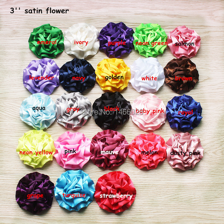 30 pcs/lot , 3'' satin  rosette flowers , satin flower headbands rose flowers hot sale hair accessories Kids headband