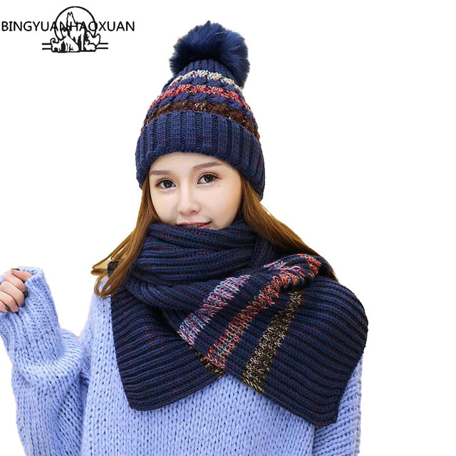 8b7b09dfb BINGYUANHAOXUAN Fashion Pompoms Women Winter Hat Scarf Set Warm Knitted  Caps Scarves Men Female Sets 2Pieces Unisex Hats Scarves