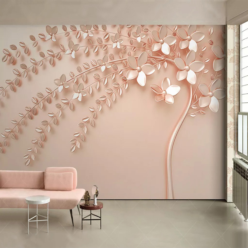 Custom Any Size Mural Wallpaper 3D Stereo Rose Golden Relief Tree Fresco Modern Abstract Living Room TV Bedroom Art Wall Papers