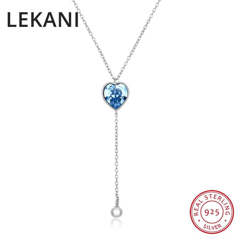 LEKANI Heart Crystals From SWAROVSKI Long Chain Pearl Pendant Necklaces  Real 925 Silver For Women Girls 579ba4b40ba5