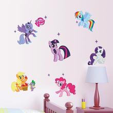 New arrival Kid Wall Stickers My Little Pony 6 ponies removal wall sticker girls sticker for kids  room factory sales directly sims lesley cole brenda fairy ponies sticker book