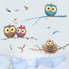 Waterproof adhesive can remove wall stick cartoon stickers paper owl room adornment bedroom metope wallpaper warm do