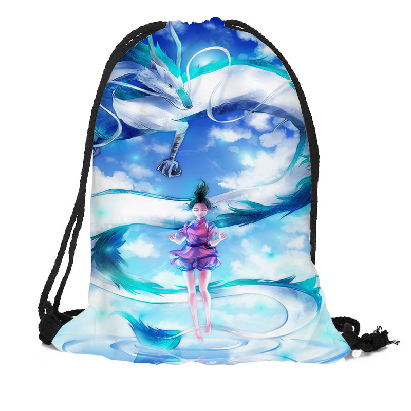 Custom <font><b>Spirited</b></font> <font><b>Away</b></font> Drawstring <font><b>Backpack</b></font> Silk Soft Bag Large Sapacity More Size Custom You Image image