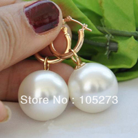 New Arriver Shell Pearl Jewelry AAA 18MM Round White Color South Sea Shell Pearl Dangle Earrings