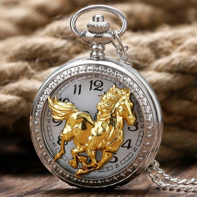 Luxury Silver Hollow Case Golden Horse Design Pocket Watches Quartz Pendant Neck