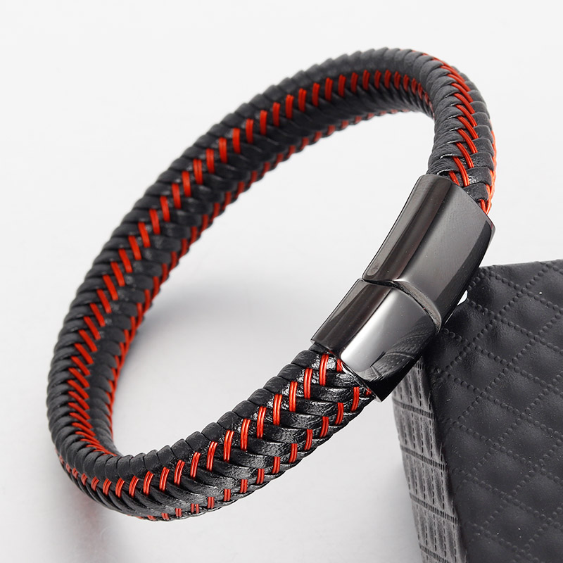 red Genuine Leather Bracelet for Men Jewelry Stainless Steel Infinity Bangle Magnetic Clasp Braid Trendy Chain For Male