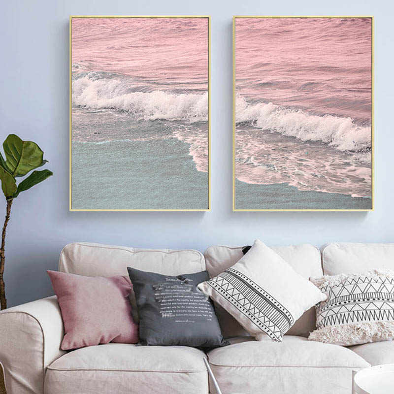Nordic Minimalist Pink Pastel Canvas Painting Coastal Wave Wall Art Pictures for Living Room Sofa Background Modern Home Decor