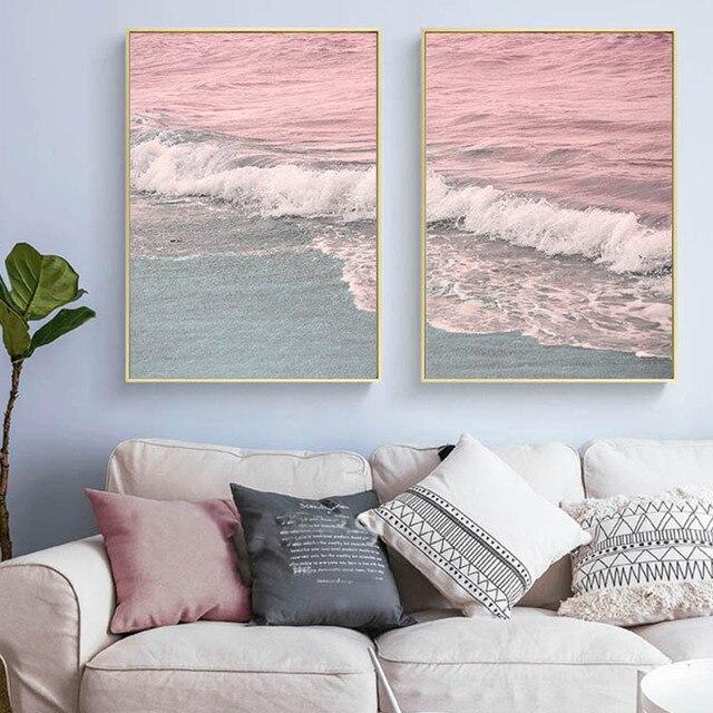 Nordic Minimalist Pink Pastel Canvas Painting Coastal Wave Wall Art