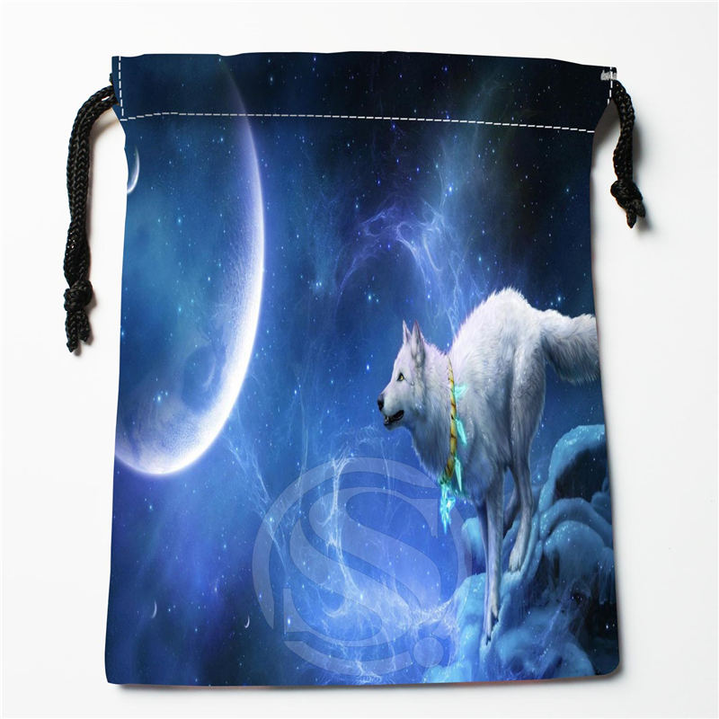 W-95 New Wolf Full Moon Custom Logo Printed  Receive Bag  Bag Compression Type Drawstring Bags Size 18X22cm E801wu95