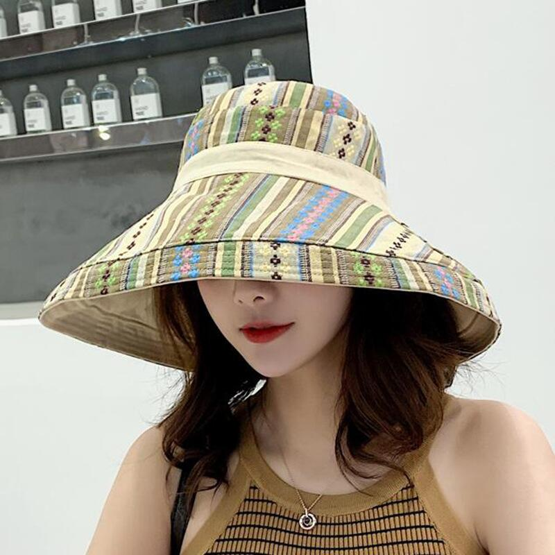 HTB1hZxNJAvoK1RjSZFNq6AxMVXaT - Double sided irregular Pattern Bucket Hat Women Summer Cotton Breathable Leisure Bob Caps Outdoor Sports Casual Dome Panama Cap