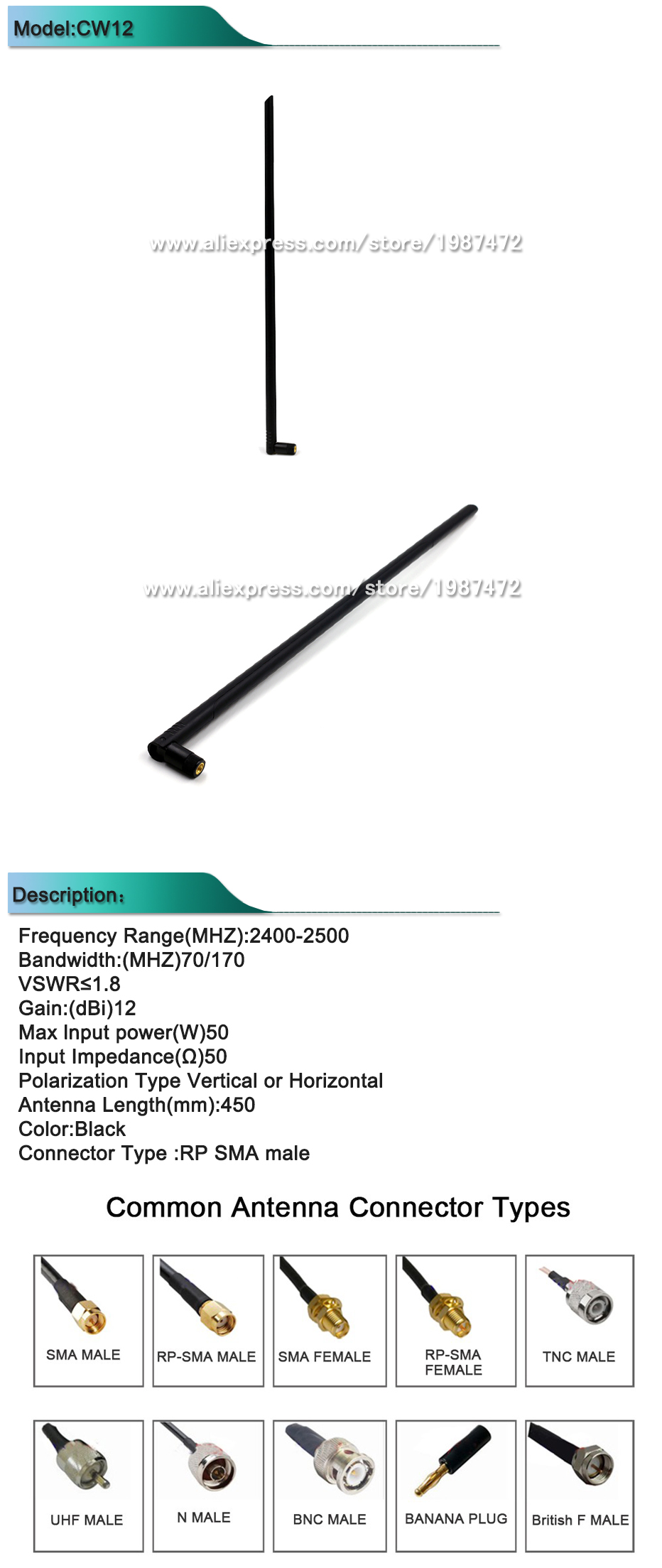 US $4 85 |1pcs 12dBi Antenna High Gain WIFI Booster Wireless Antenna-in  Antennas for Communications from Cellphones & Telecommunications on