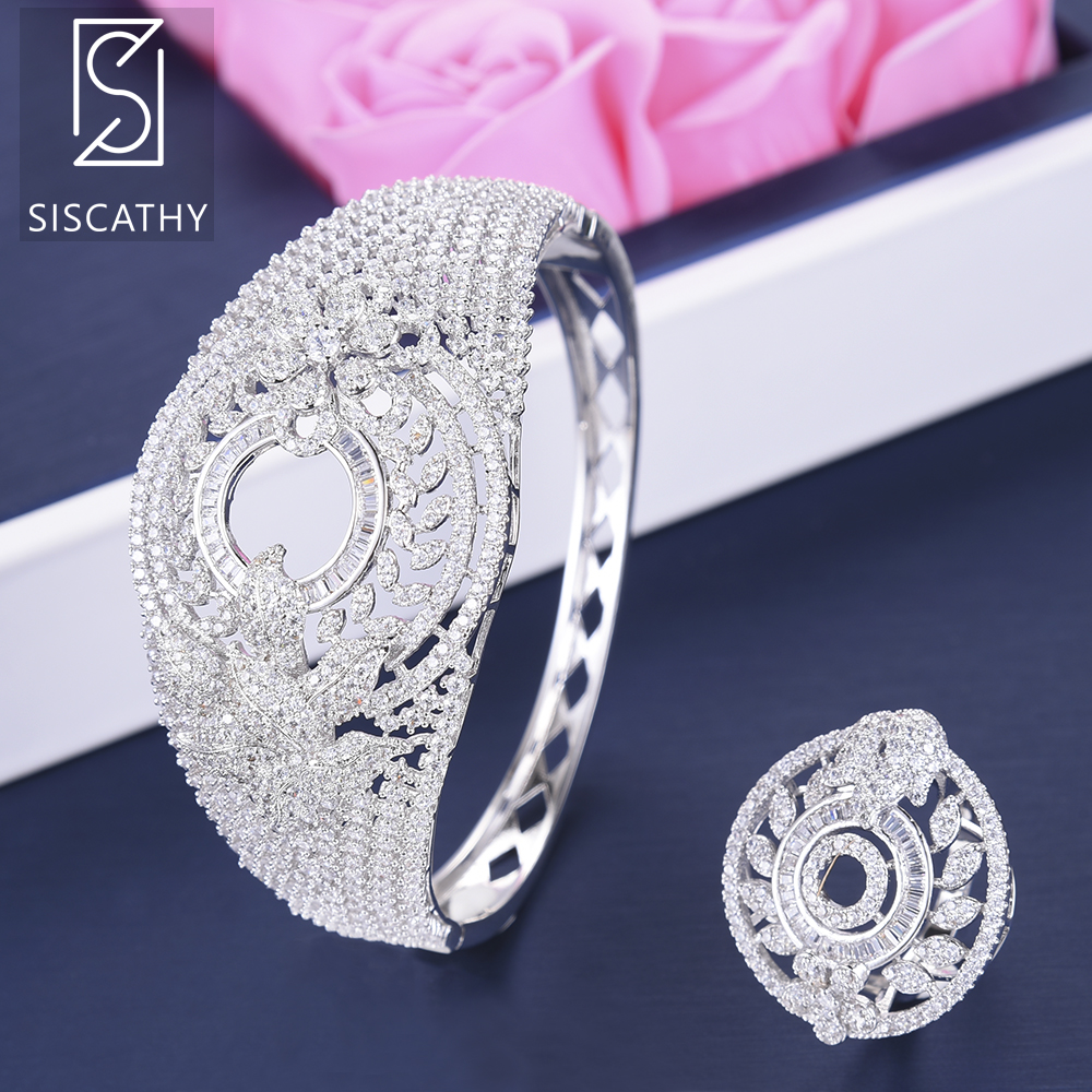 SISCATHY Trendy Plant Branch Shape Cubic Zirconia Inlaid Dubai Nigerian Bracelet Ring Wedding Engagement Jewelry Set