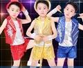 10 компл./лот нагрудные блестки жилеты костюмы из трех частей джазовый танец детская танцевальная девушки парни производительность одежда костюм