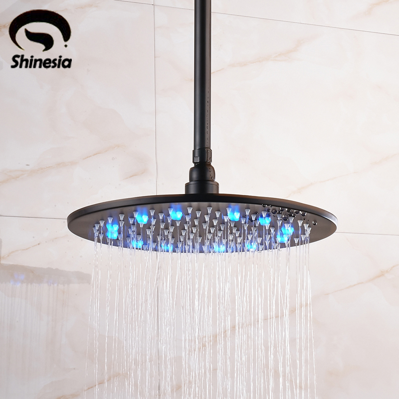 все цены на Oil Rubbed Bronze 12 Inch 16 Inch LED Rainfall Shower Head with Shower Arm Solid Brass Bathroom Shower Head онлайн