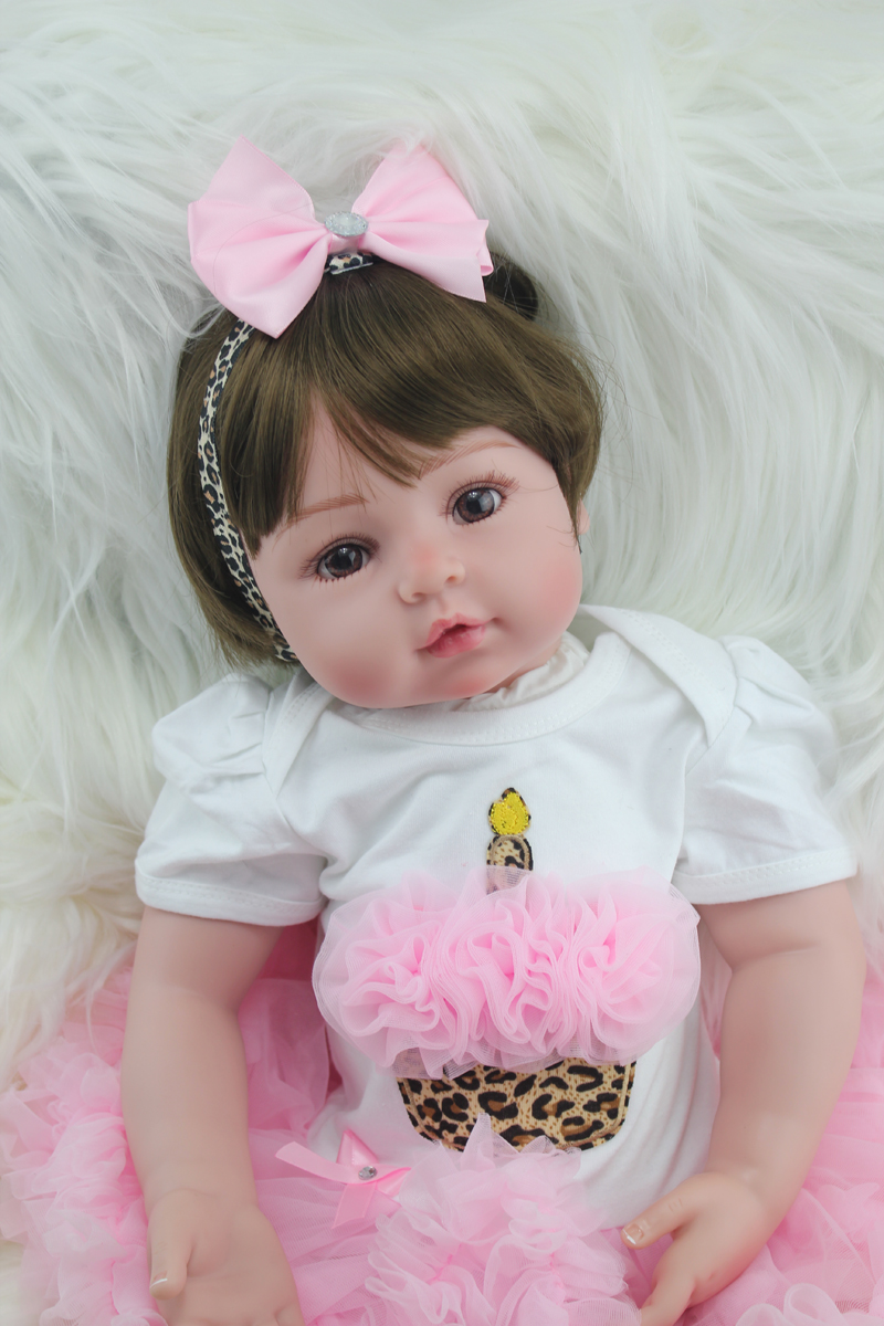 55cm Vinyl Reborn Toddler Baby Doll Toys Lifelike Silicone Reborn Toddler Princess Babies Birthday Present Girls