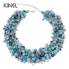 Kinel Top Vintage Jewelry  Necklace For Women Handmade Colorful Crystal Stone Luxury Party Christmas Gift